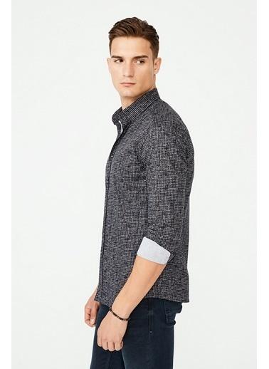 Avva Erkek  Baskılı Düğmeli Yaka Gömlek A02Y2295 Siyah